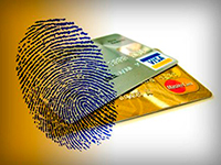 Credit cards with thumbprint identifier.