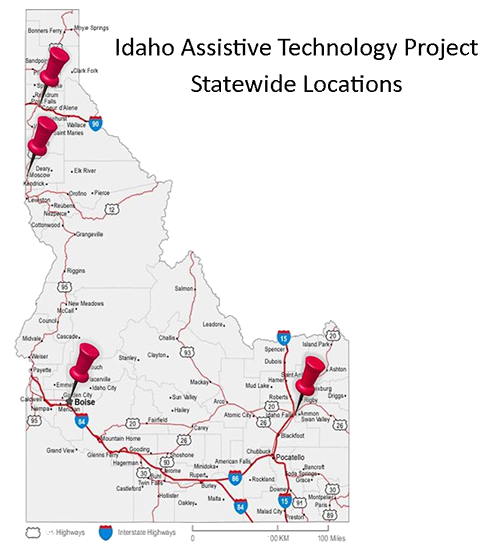 Map of Idaho Assistive Technology Project Statewide Locations