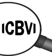 Magnifying glass icon with ICBVI letters expanded.
