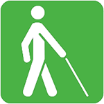 Icon of man walking with cane to denote blindness